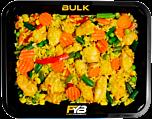 Zilvervliesrijst - Gebakken kipfilet blokjes - Mexicaanse groentemix (Bombay Curry sauce) - BULK