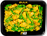 Zilvervliesrijst - Gebakken kipfilet blokjes - Sperzieboontjes (Bombay Curry sauce) - BULK